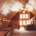 Barn Venue Interior with wooden tables and chairs