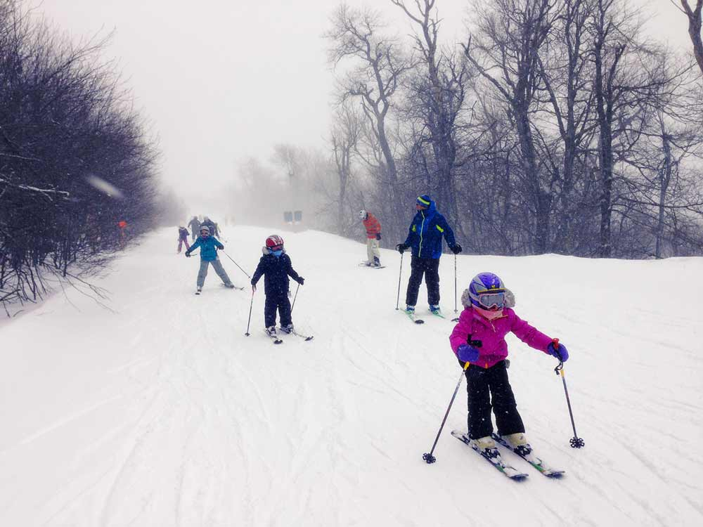 children on ski trail at Homestead Farm Resort in Margaretville NY