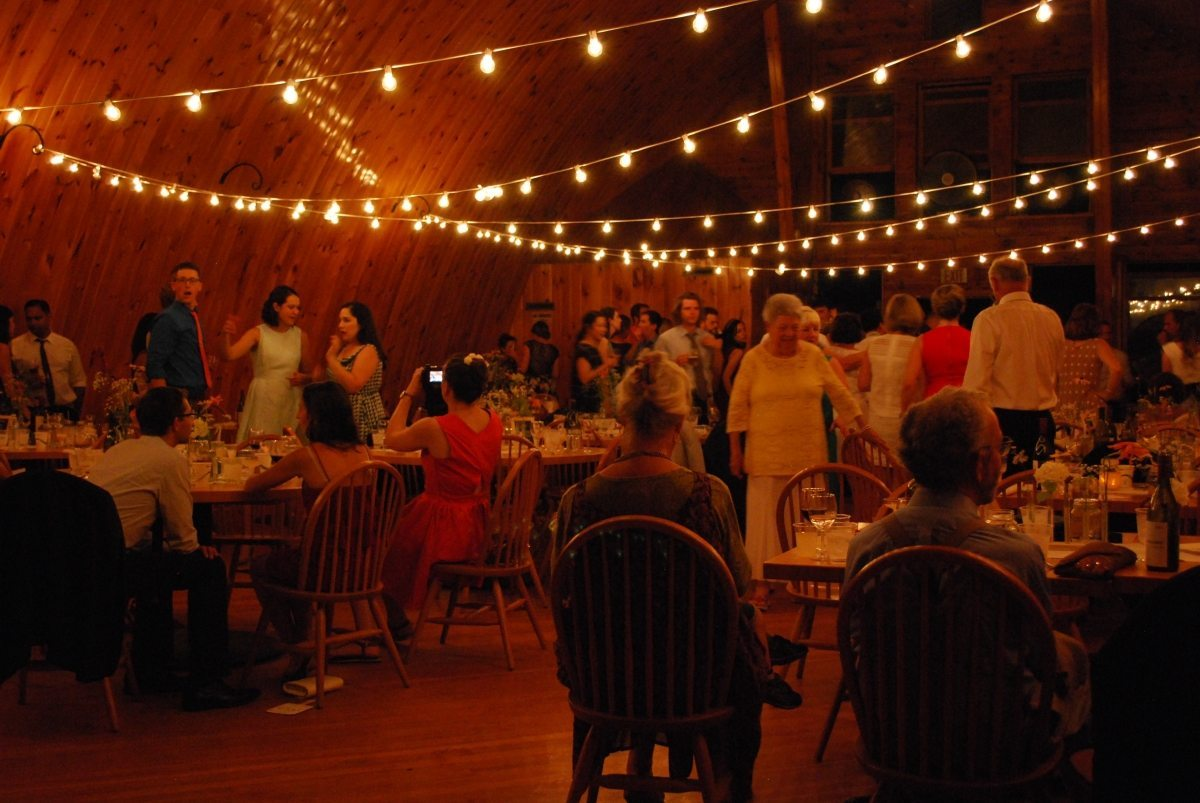 barn wedding interior during party